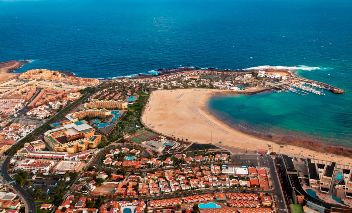 'Aerial overview of Caleta de Fuste, Fuerteventura, Canary islands, Spain' - Fuerteventura
